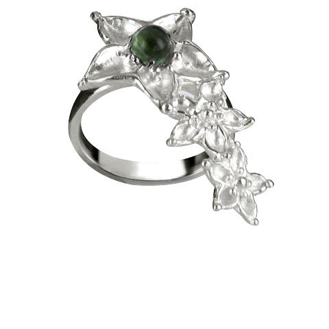 Bouquet de fleurs bague main droite - Agate verte