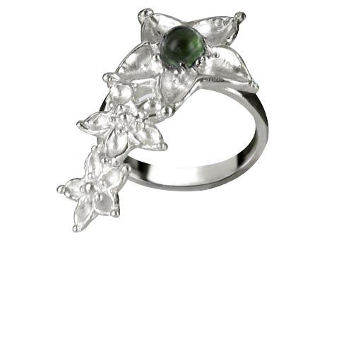 Bouquet de fleurs bague main gauche - Agate verte