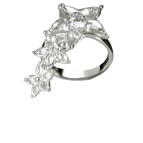 Bouquet de fleurs bague main gauche - Oxyde de zirconium