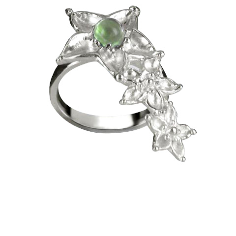Bouquet de fleurs bague main droite - Peridot vert pastel