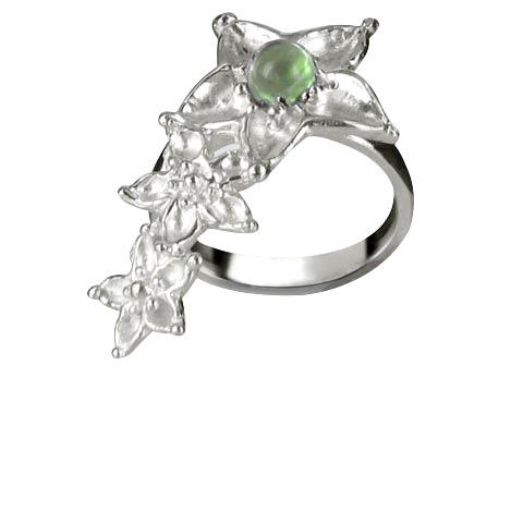 Bouquet de fleurs bague main gauche - Peridot vert pastel