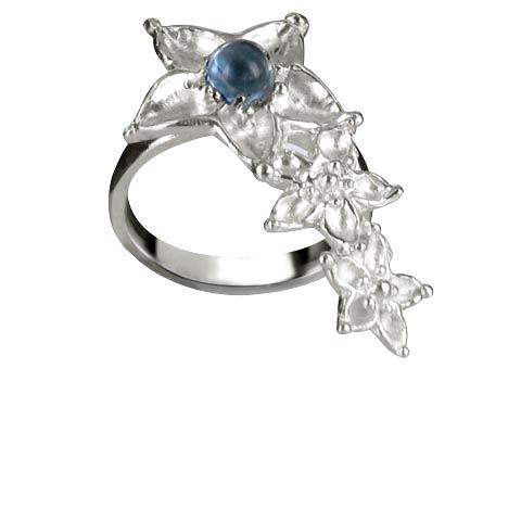 Bouquet de fleurs bague main droite - Topaze bleue