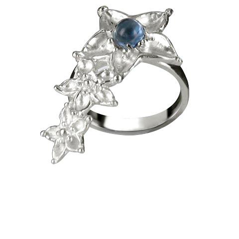 Bouquet de fleurs bague main gauche - Topaze bleue