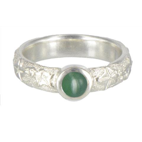 Lierre et pierre - Agate verte - Bague