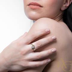 Nielor - argent  - feuille or jaune - diamant - Solitaire