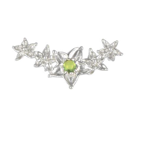 Bouquet de fleurs - Péridot vert pastel - Pendentif