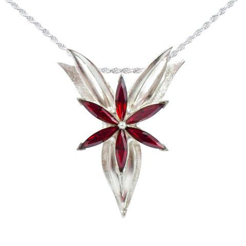 Fleur du soir - strass rouges - Pendentif