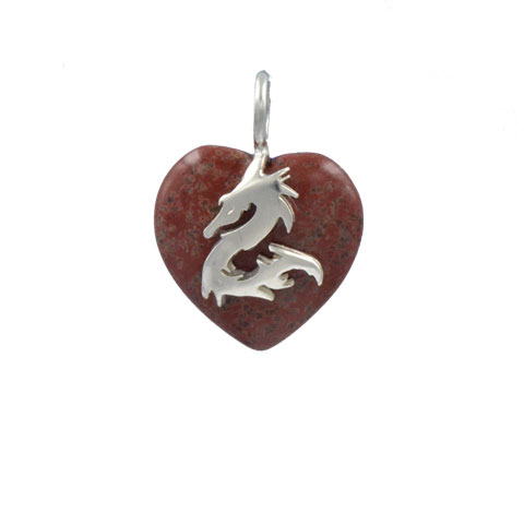 Coeur de Sylve - Dragon Jaspe rouge - Pendentif