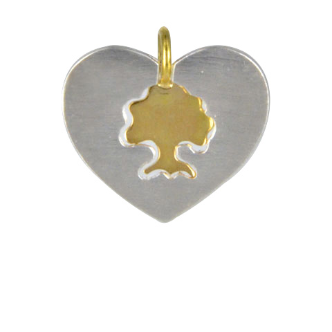 Coeur de foret duo or 18 carats et argent 925ème - Pendentif