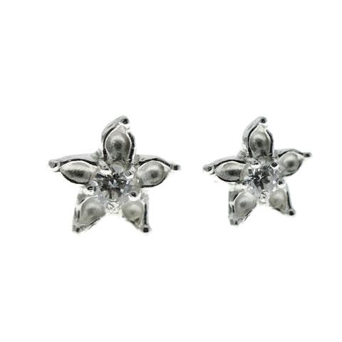 Fleur Edelweiss sertie - clous d'oreilles