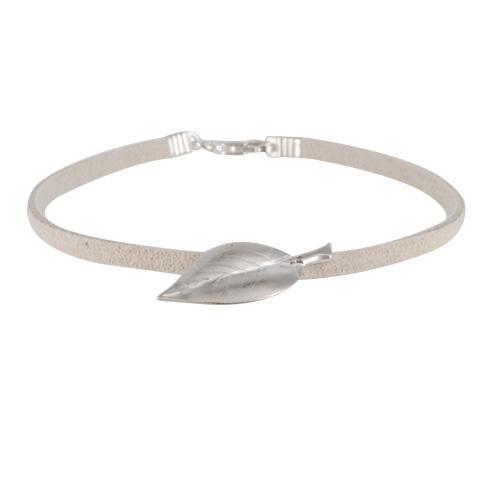 Feuille Endoreas argent 925ème - bracelet suédine
