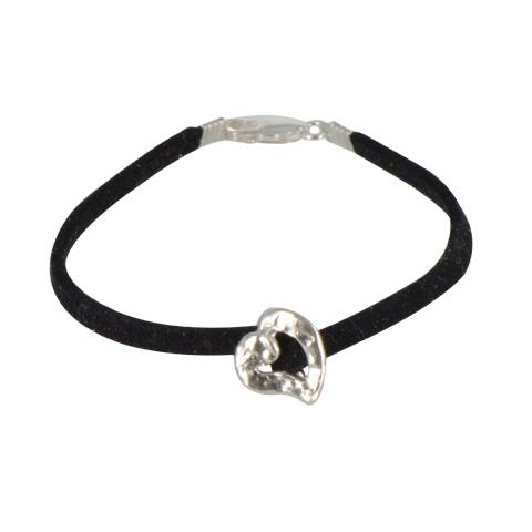 Mini coeur argent 925ème - bracelet suédine