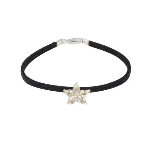 Fleur Edelweiss argent 925ème - bracelet suédine