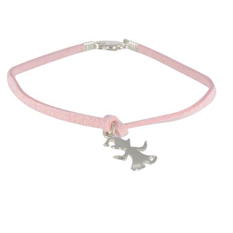 Demoiselle Elfe - Bracelet argent 925ème et cordon suédine rose