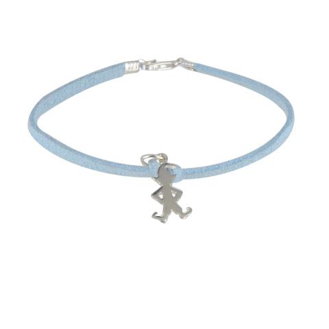 Lutin Mutin - Bracelet argent 925ème et cordon suédine bleu