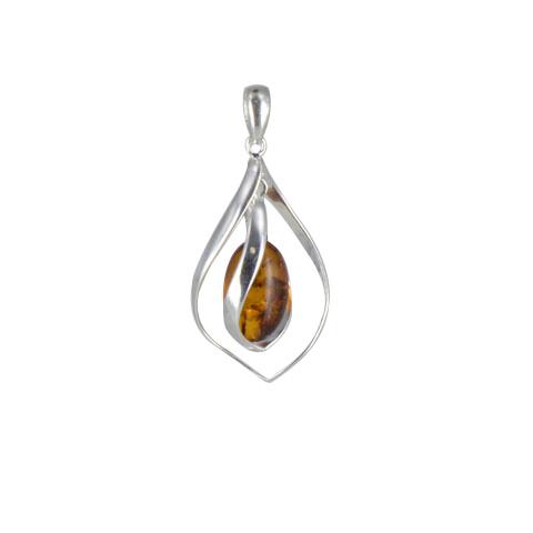 Padyn - pendentif argent 925eme et ambre cognac