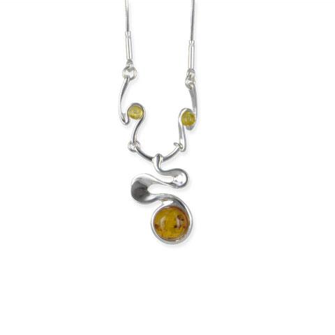 Ceilyn - collier argent 925eme et ambre cognac/jaune