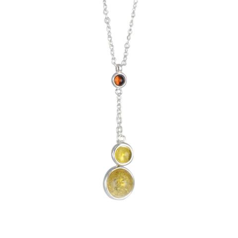 Oregan bicolore - collier argent 925eme et ambre cognac et jaune