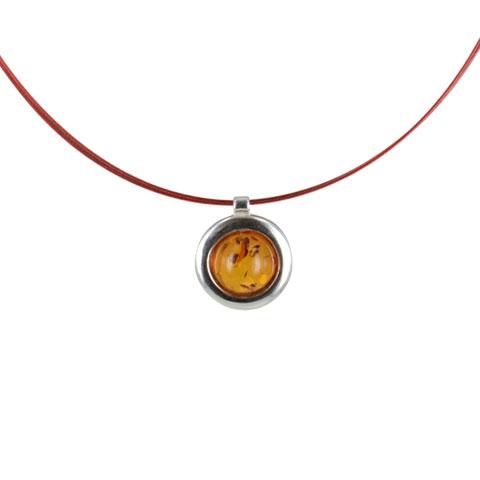 Celeste - collier argent 925eme et ambre cognac
