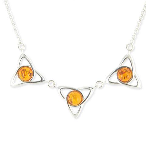 Monade Trio - collier argent 925eme et ambre