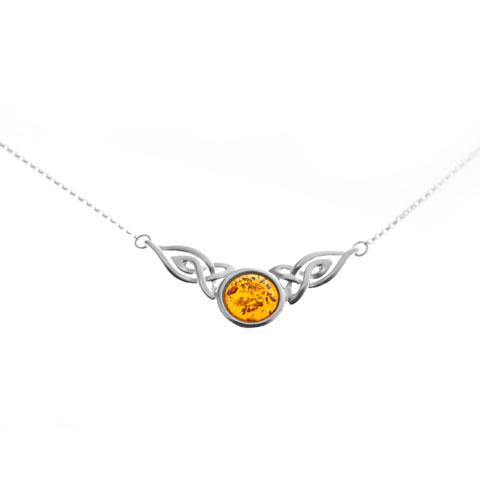 Celtique - collier argent 925eme et ambre cognac