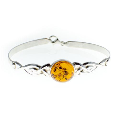 Celtique - Bracelet semi-rigide argent 925ème et ambre cognac