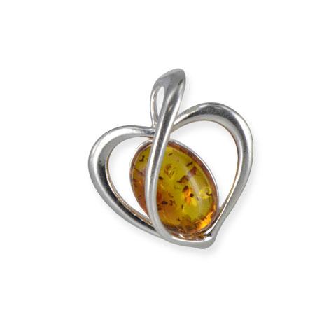 Boann cœur d'ambre - pendentif argent 925eme et ambre cognac 5,2