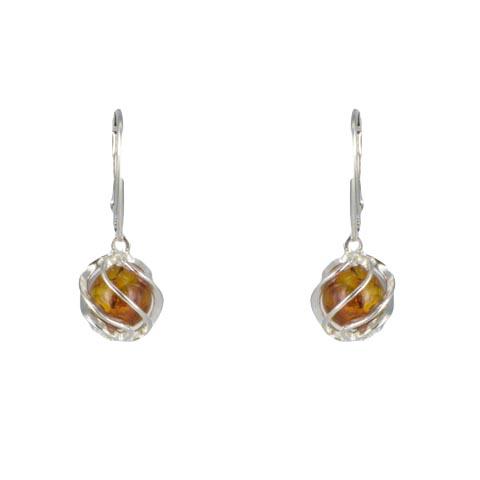 Shona - boucles d'oreilles argent 925eme et ambre cognac