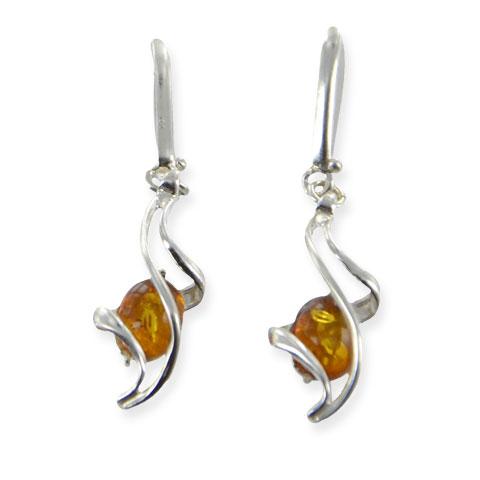 Bryn - boucles d'oreilles argent 925eme et ambre cognac