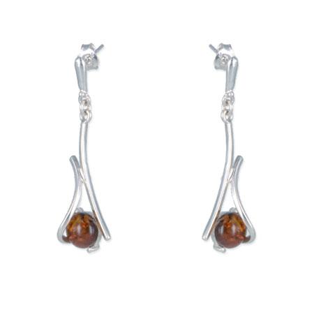 Ailys - boucles d'oreilles argent 925eme et ambre cognac