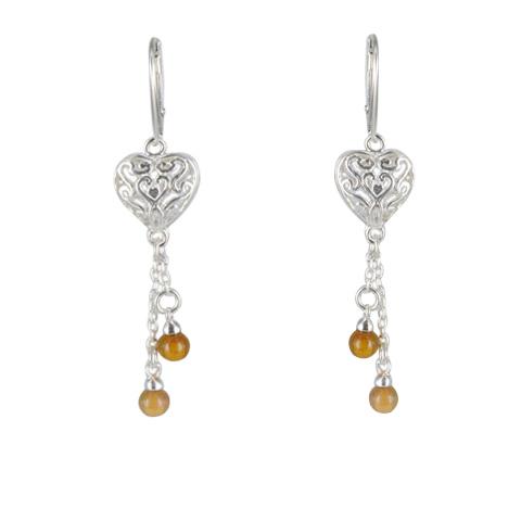 Violyn - boucles d'oreilles argent 925ème et ambre cognac