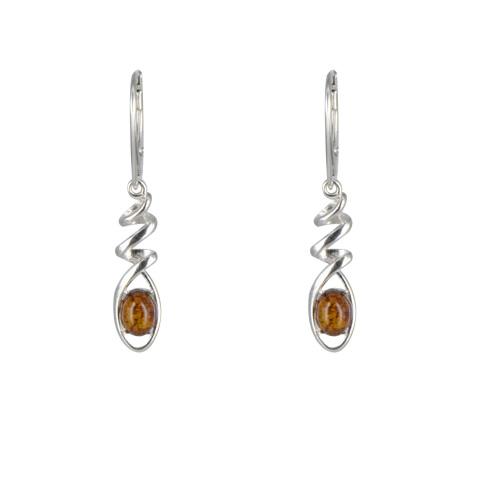 Drev - boucles d'oreilles argent 925ème et ambre cognac