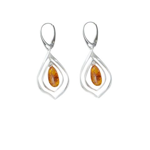 Padyn - boucles d'oreilles argent 925eme et ambre