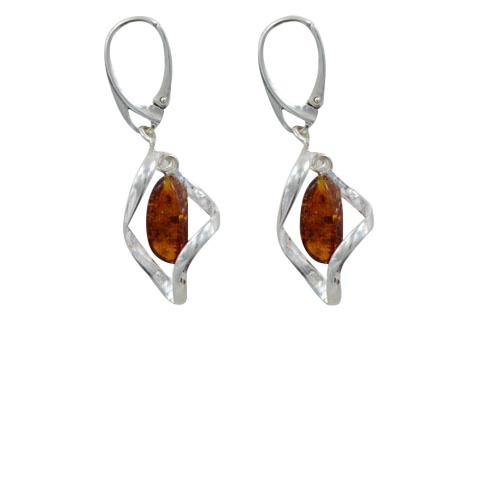 Doucia - boucles d'oreilles argent 925eme et ambre