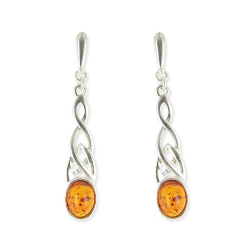 Celtique - boucles d'oreilles argent 925eme et ambre