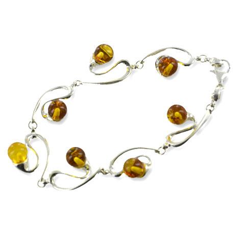 Cieran - bracelet argent 925eme et ambre cognac