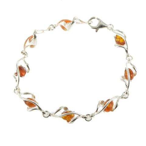Bryn - bracelet argent 925eme et ambre cognac