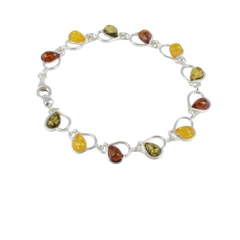 Aure - bracelet argent 925eme et 3 ambres