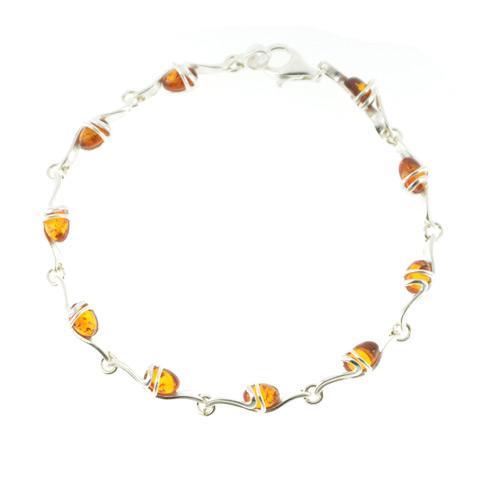 Loredyn - bracelet argent 925eme et ambre cognac