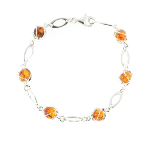 Shona - bracelet argent 925eme et ambre cognac