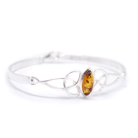 Monade - Bracelet semi-rigide argent 925ème et ambre cognac