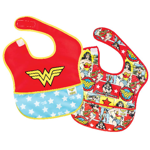 Pack de 2 super-bavoirs imperméables Wonder Woman
