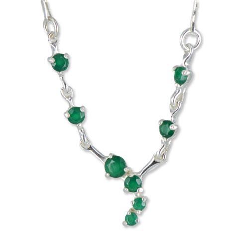 Charme - collier argent 925ème et agate verte