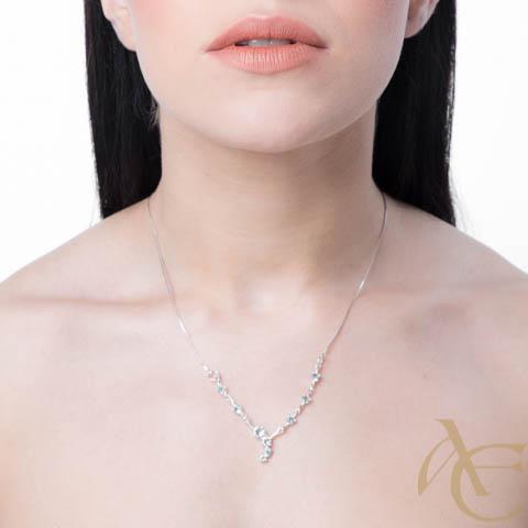 Charme - collier argent 925ème et oxydes de zirconium bleus