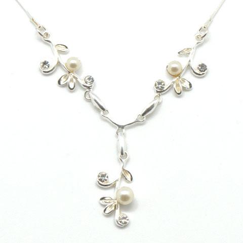 Perle - collier argent 925eme, oxydes de zirconium et perles
