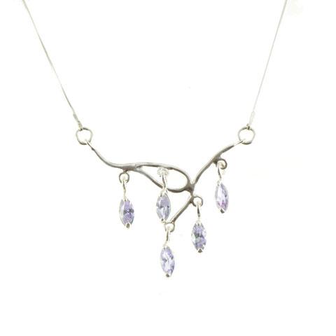 Lueur - collier argent 925ème et oxyde zirconium violet