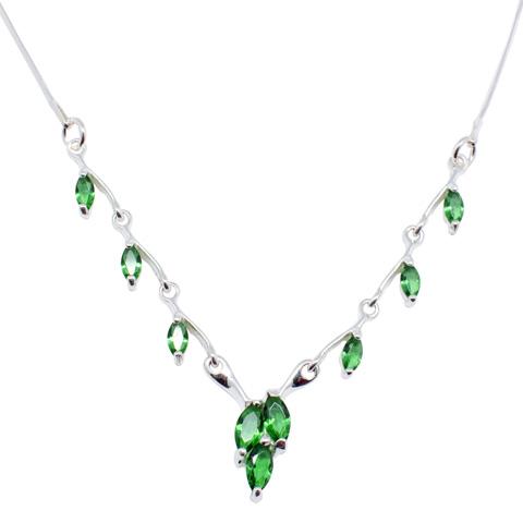 Pétille - collier argent 925ème et oxyde zirconium vert