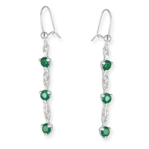 Charme - boucles d'oreilles argent 925ème et agate verte