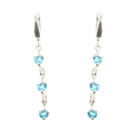 Charme - boucles d'oreilles argent et oxydes de zirconium bleus
