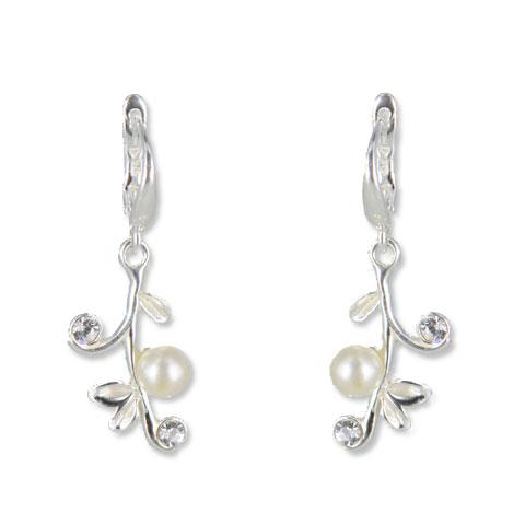 Perle - boucles doreilles argent, oxydes de zirconium et perles